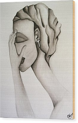 The Mask Wood Print by Simona  Mereu