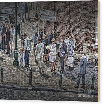 Wood Print featuring the photograph The Mass-goers Brussels by Jack Torcello