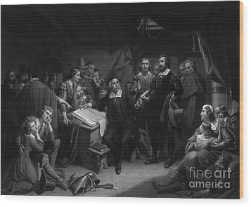 The Mayflower Compact, 1620 Wood Print by Photo Researchers