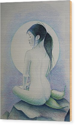 Wood Print featuring the drawing The Mermaid 1 by Tim Ernst