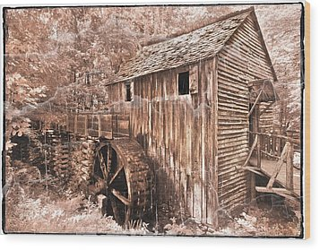 The Mill At Cade's Cove Wood Print by Debra and Dave Vanderlaan