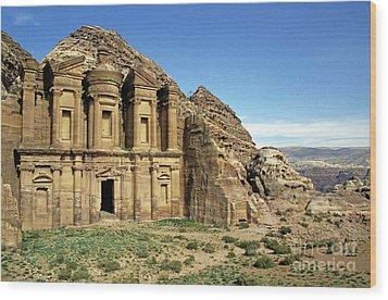 The Monastery Ad Dayr At Petra Wood Print by Sami Sarkis