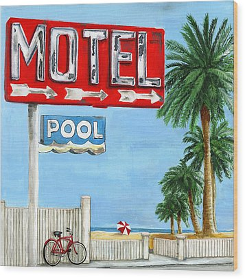 The Motel Sign Wood Print by Debbie Brown
