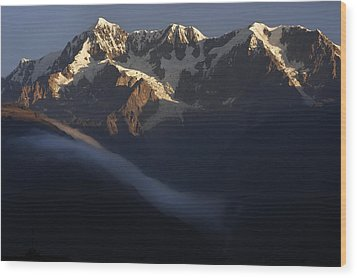 The Mountain Illimani. Republic Of Bolivia. Wood Print by Eric Bauer