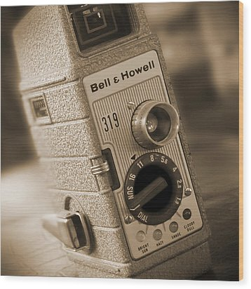 The Movie Camera Wood Print by Mike McGlothlen
