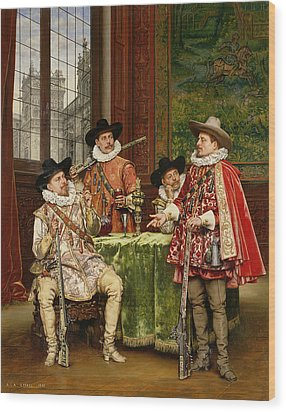 The Musketeer's Tale Wood Print by Adolphe Alexandre Lesrel