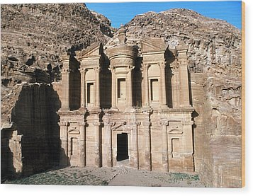 The Nabateian Temple Of Al Deir Wood Print by Martin Gray