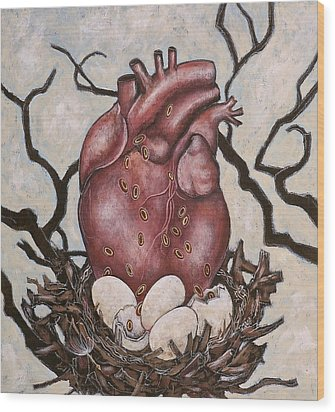 The Nest Of My Heart Wood Print by Sheri Howe