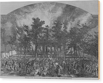 The New York City Draft Rioters Burned Wood Print by Everett