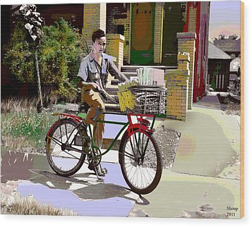 Wood Print featuring the mixed media The Newspaper Boy by Charles Shoup