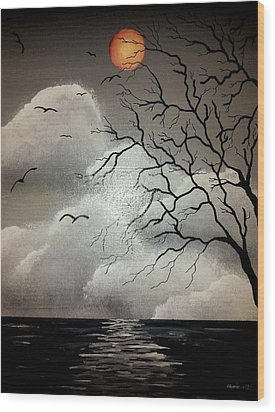 The Night Of The Blood Red Moon Wood Print by Edwin Alverio