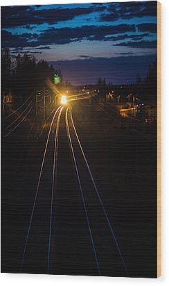 Wood Print featuring the photograph The Night Train by Matti Ollikainen