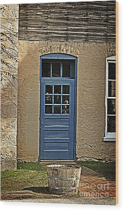 The Old Blue Door Wood Print by Mary Machare