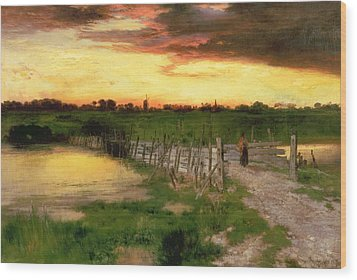 The Old Bridge Over Hook Pond Wood Print by Thomas Moran