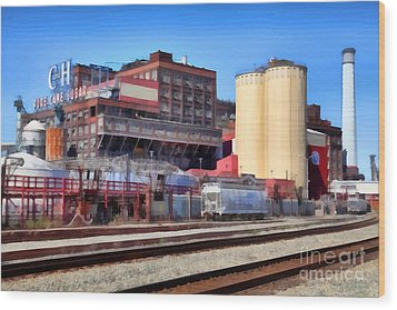 The Old C And H Pure Cane Sugar Plant In Crockett California . 5d16770 Wood Print by Wingsdomain Art and Photography