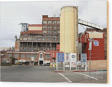 The Old California And Hawaii Pure Cane Sugar Company In Crockett California Wood Print by Wingsdomain Art and Photography