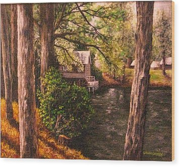 The Old Grist Mill Wood Print by Laurie Golden