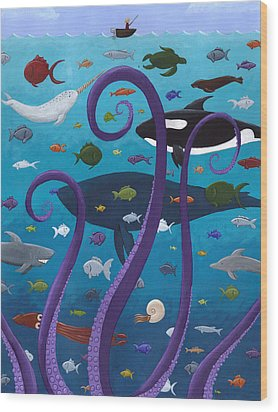 The Old Man And The Sea Monster Wood Print by Christy Beckwith