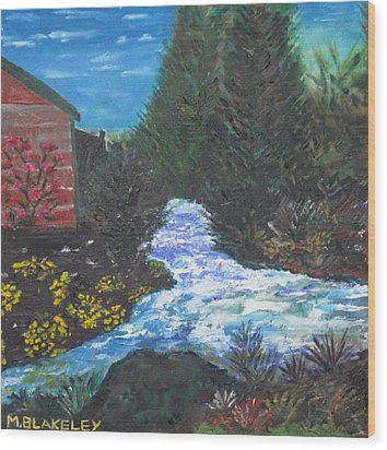 Wood Print featuring the painting The Old Mill By The River by Martin Blakeley