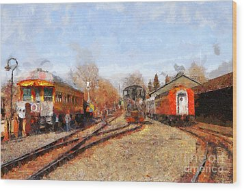 The Old Sacramento Central Train Depot . 7d11513 Wood Print by Wingsdomain Art and Photography