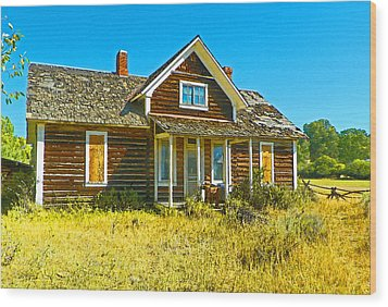 The Old School House Wood Print by Lenore Senior and Dawn Senior-Trask