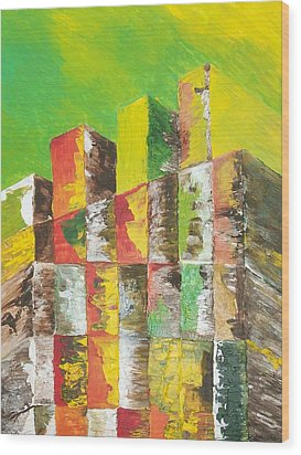 The Old Stack Of Wood Wood Print by Roy Penny