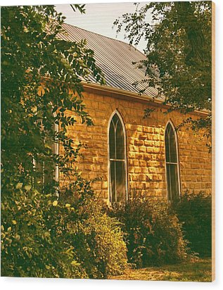 The Old Stone Church Wood Print by Lynne and Don Wright
