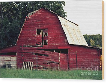 Wood Print featuring the photograph The Ole Red Barn by Kathy  White