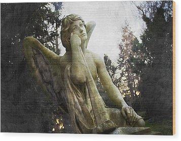 The One Angel Wood Print by Marc Huebner