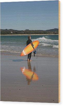 The Orange Surfboard Wood Print by Jan Lawnikanis