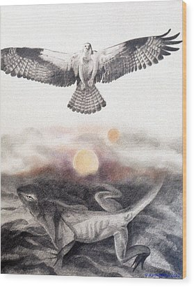 The Osprey And The Lizard Wood Print by Kyra Belan