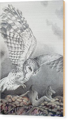 The Owl Of Athena Wood Print by Kyra Belan