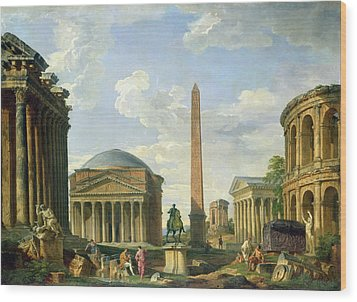 The Pantheon And Other Monuments 1735 Wood Print by Giovani Paolo Panini