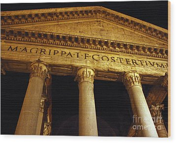 The Pantheon At Night Wood Print by Kent Nickell