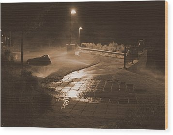 The Park At Night Wood Print by Artist Orange
