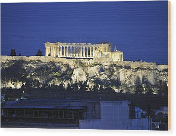 Wood Print featuring the photograph The Parthenon At Night by MaryJane Armstrong