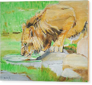 The Paws That Refreshes Wood Print by Judy Kay