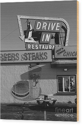 The Penguin Drive-in Wood Print by David Bearden