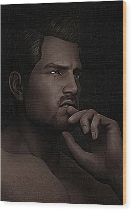 Wood Print featuring the digital art The Pensive Man - Cracked Colour by Maynard Ellis