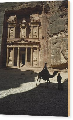 The Pharaohs Treasury Or Khazneh Wood Print by James L. Stanfield
