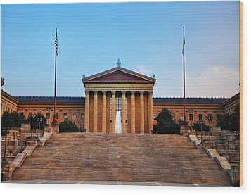 The Philadelphia Museum Of Art Front View Wood Print by Bill Cannon