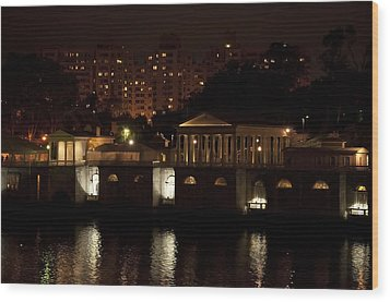 The Philadelphia Waterworks All Lit Up Wood Print by Bill Cannon