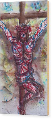 The Physical Death Of Jesus Wood Print by Thomas Lentz