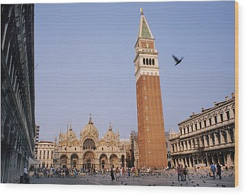 The Piazza San Marco Is The Focal Point Wood Print by O. Louis Mazzatenta