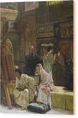 The Picture Gallery Wood Print by Sir Lawrence Alma-Tadema