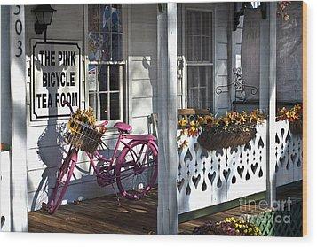 The Pink Bicycle Tea Room Wood Print by Jane Brack