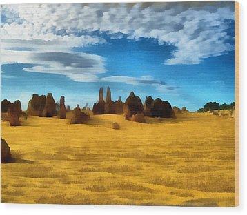 Wood Print featuring the digital art The Pinnacles Nambung National Park by Roberto Gagliardi