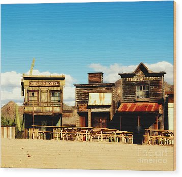 The Pioneer Hotel Old Tuscon Arizona Wood Print by Susanne Van Hulst
