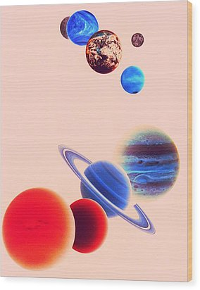 The Planets, Excluding Pluto Wood Print by Digital Vision.