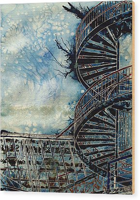 The Point Of Steps Wood Print by Cathy S R Read